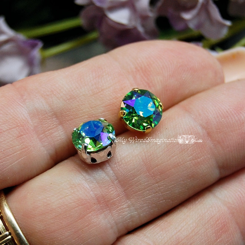 Peridot Shimmer Sew On Swarovski Crystal 39ss Xirus Chaton 8mm image 0