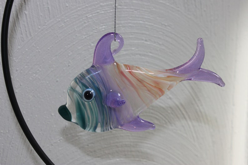 ready to ship Hand blown glass fish ornament teal purple and melba melange color