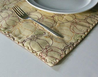 Autumn placemats, quilted placemats, 2 cotton placemats, two sided placemats, tan and brown mats, autumn table mats