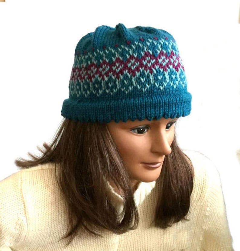 8203606dff3 Hand knit wool hat Fair Isle beanie womens knit hat blue