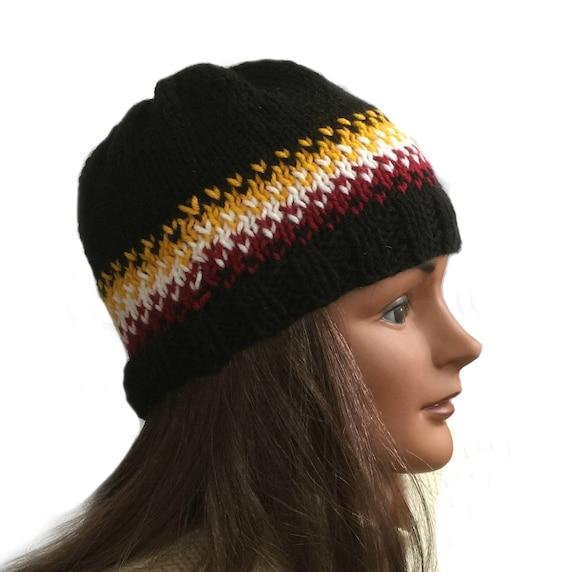 c9fa12c5 Fair Isle beanie hat acrylic knit hat ski hat hand knit   Etsy