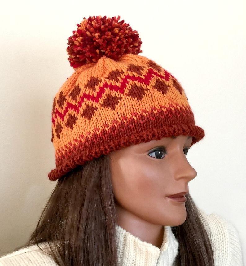 6c672179ddf Burnt orange hat wool Fair Isle beanie pom pom hand knit hat