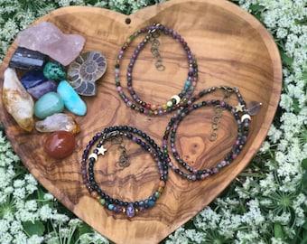 "Double wrap rainbow gemstone bracelet, crystal dainty faceted , 6 1/4"" -  7"", choker necklace, one love fun celestial star crescent moon"