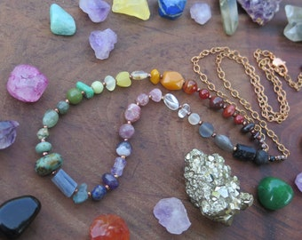 Long Rainbow gemstone necklace with copper chain, chakra jewelry, hippy witchy style - bright colorful Canadian Artisan, crystal boho