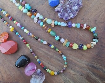 Double wrap gemstone rainbow bracelet, eclectic crystals, choker necklace, one love fun, multi witchy birthday gift