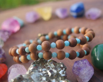 Amazonite, Fluorite & Sandalwood stone double wrap bracelet or choker necklace - teardrop, brass blue brown,  earthy gemstone witch jewelry