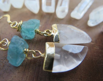 Rose Quartz and raw Appatite earrings, Gold Filled ear hooks, love stone, whimsical witchy gemmy goddess jewelry, faceted fancy, pink blue