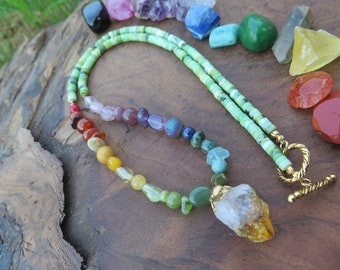 Citrine Crystal and Chyrsoprase rainbow necklace, bright and colourful witchy jewelry, fall style one love, gemstone , raw gold, sunny