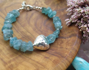 Raw Apatite Gemstone bracelet, with Sterling Silver heart and Seahorse, crystal, beaded stone jewelry blue sky