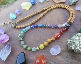 Beaded Rainbow Stone Necklace, Crystal & Sandalwood Wood diffuser necklace, Gemstone Bohemian Jewelry - Chakra Gift for Her, colourful ombre