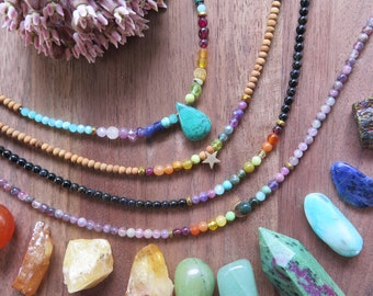 Choose your Rainbow stone anklet with Sandalwood Onyx sides, multi colour gemstone jewelry, moon star drop, chakra crystal jewelry