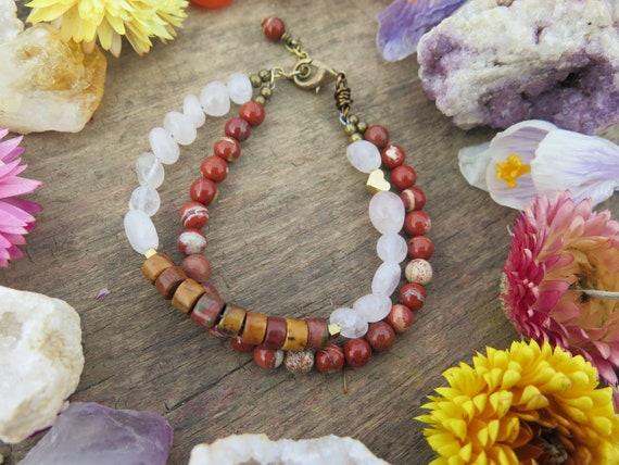 Burnt Orange and multi colored semi precious stone bracelet with rose gold hamsa.