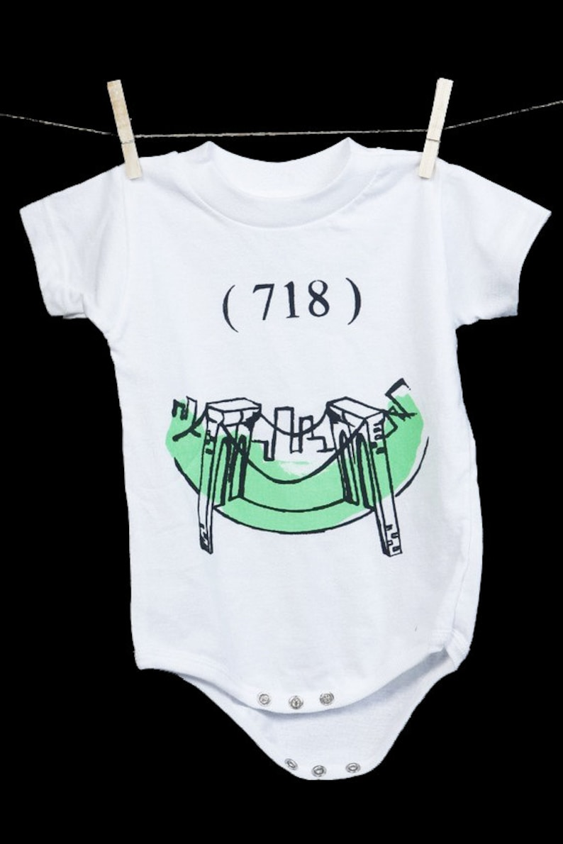 718 Brooklyn Bridge Onesie. Zip code original graphic print.