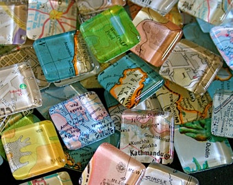 Map Magnets - Glass Magnets of Vintage Maps - Party Favors - Gift for Map Lovers - Stocking Stuffer - World Map Magnets - Set of 10