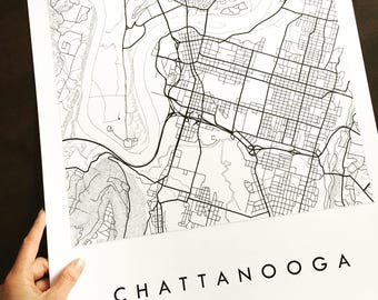 CHATTANOOGA Map Street Map TENNESSEE City Map Drawing Black and White (Art Print) Wedding Anniversary Gift Wall Decor