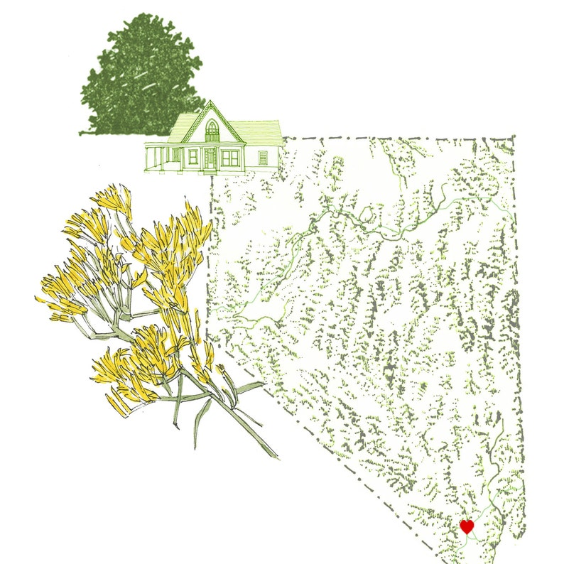 Nevada State Map 8x10 Art Print State Tree State Flower Etsy