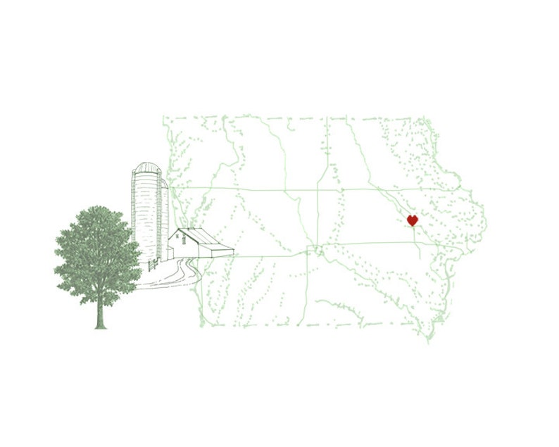 IOWA MAP Farm 8x10 Art Print State Tree State Flower State   Etsy S In Iowa Map on