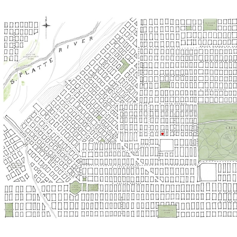 DENVER Map Street Map COLORADO City Map Drawing Art Print | Etsy