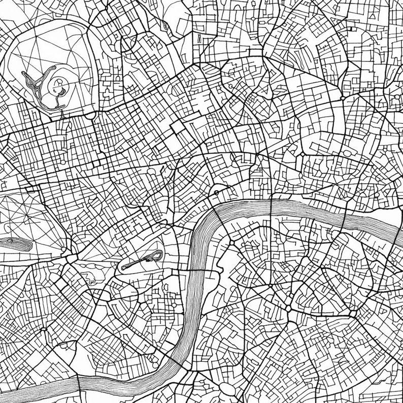 Street Map Of London Uk.London Map Street Map England Uk City Map Drawing Black And Etsy