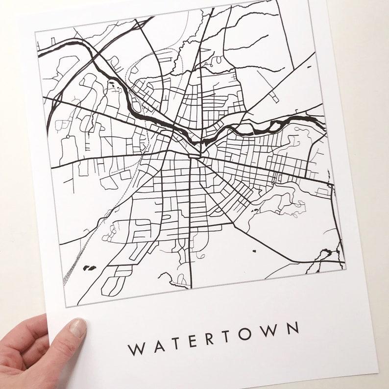 WATERTOWN New York Map Street Map Drawing Black and White (Art Print)  Wedding Anniversary Gift Northeast Upstate Wall Decor