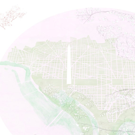 Washington Dc National Mall Art Print Capital City Map Etsy