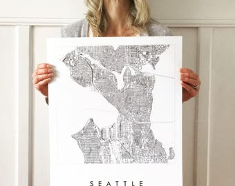 SEATTLE Map Street Map WASHINGTON City Map Drawing Black and White (Art Print) Wedding Anniversary Gift Wall Decor Ferry Puget Sound