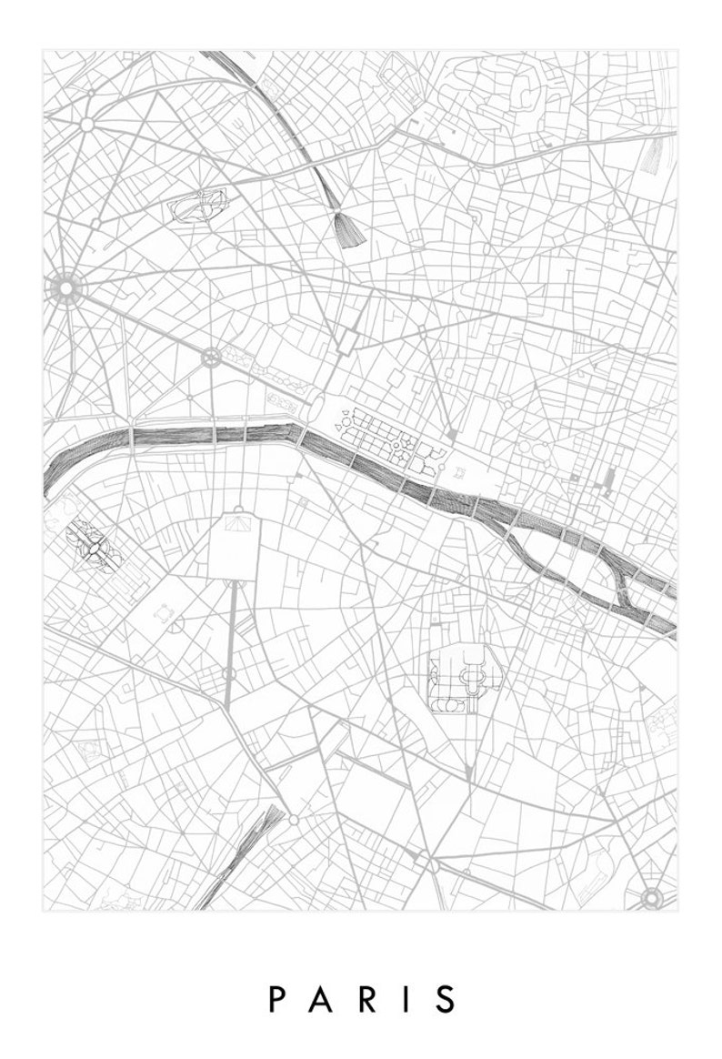 Map Of France Drawing.Paris Map Street Map France City Map Drawing Black And White Art Print Wedding Anniversary Gift French Travel Parisian Wall Decor