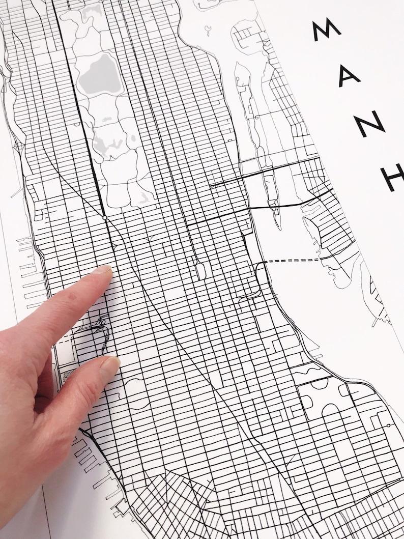Manhattan Street Map City Map Drawing Black Grey Ink Art Etsy