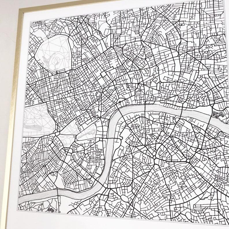 LONDON Map Street Map ENGLAND UK City Map Drawing Black and White (Art  Print) Wedding Anniversary Gift Wall Decor Travel Print