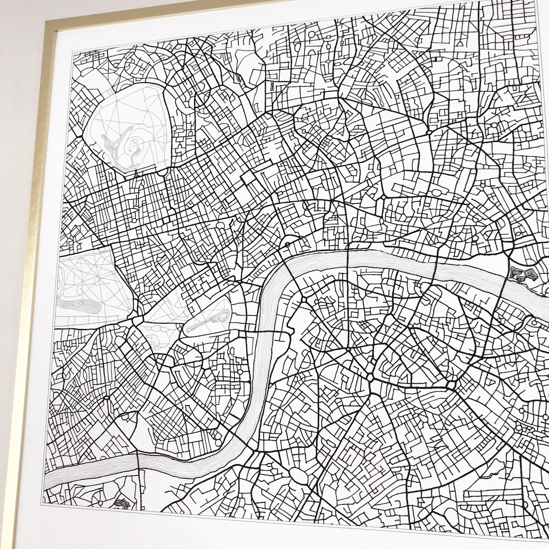 Street Map Of London Uk.London Map Street Map England Uk City Map Drawing Black And White Art Print Wedding Anniversary Gift Wall Decor Travel Print