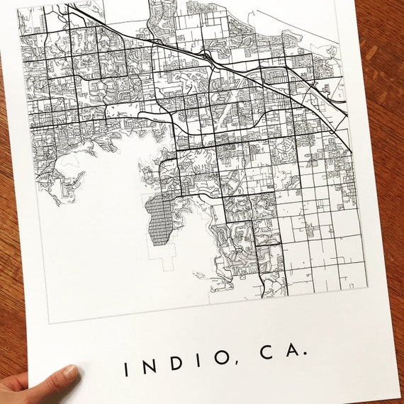 Indio Palm Springs Map California City Map Drawing Black And Etsy