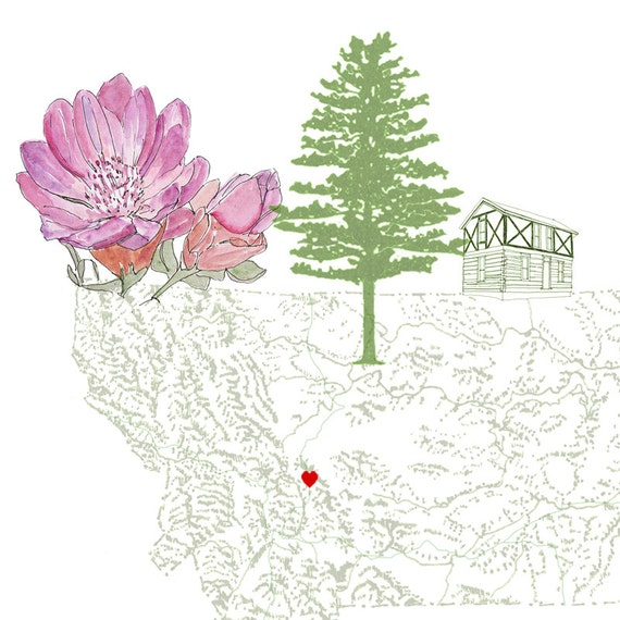 Montana State Map With Cities And Towns.Montana State Map 8x10 Art Print State Tree State Flower Etsy