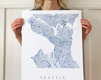 SEATTLE Map Watercolor Print WASHINGTON City Block Plan (Art Print) Anniversary Wedding Graduation Realtor Gift Seattle Wall Decor Blue Grey