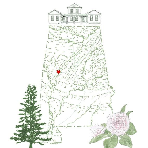 alabama state map 8x10 art print state tree state flower etsy