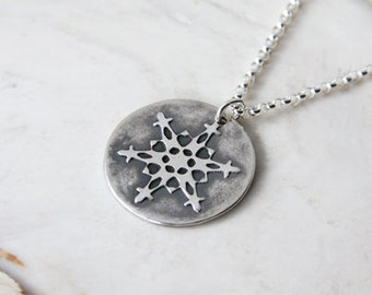 Silver Snowflake Necklace Sterling Silver Chain Snowflake Pendant Winter Jewelry Handmade Recycled .999 Fine Silver Pendant #16483