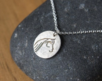 Horse Necklace Silver Stylized Horse Head Charm Sterling Chain Horse Jewelry Art Jewelry Equestrian Jewelry Handmade Silver Pendant #16478