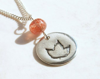 Silver Round Necklace Recycle Symbol in Leaves