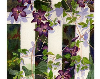 """Set of 10 Floral Greeting Cards """"Clematis Watercolor"""""""