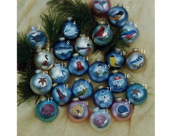 Assorted Nature Themed Hand-Painted Christmas Balls