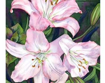 """Set of 10 Floral Greeting Cards """"Lilies"""""""