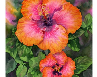 """Set of 10 Floral Greeting Cards """"Hibiscus"""""""