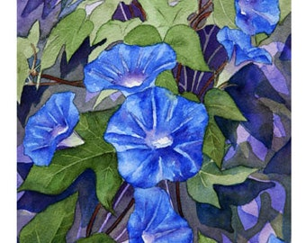 """Set of 10 Floral Greeting Cards """"Morning Glories"""""""