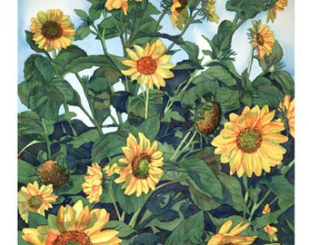 """Set of 10 Floral Greeting Cards """"Sunflowers"""""""