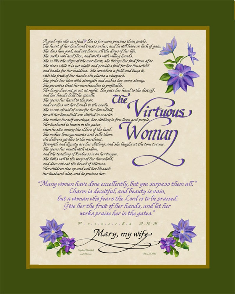 04d9e9b3af7 The Virtuous Woman Proverbs 31 10-31 Personalized