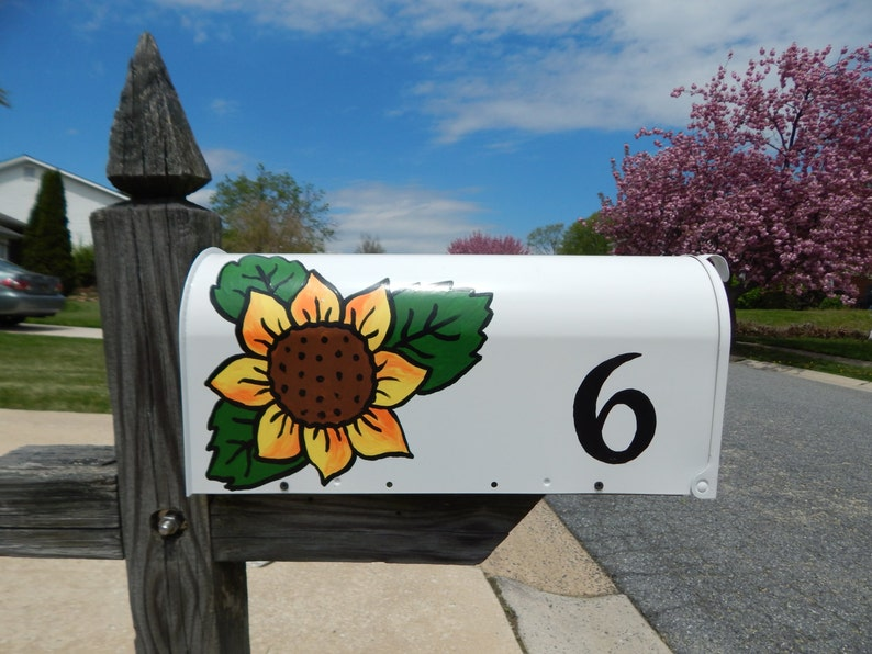 Decorative Hand-Painted Mailbox with Sunflowers or Other Custom Designs