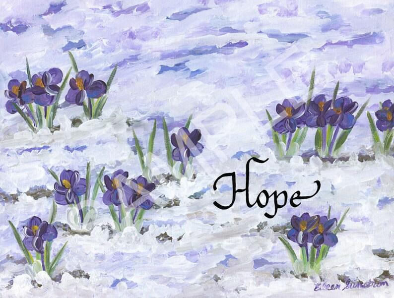 5x7 Blank CardsMatted Prints Hope on  Crocus artwork
