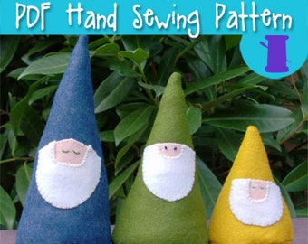 PDF SEWING PATTERN - My Friendly Garden Gnomes, stuffed gnome, plush gnome, bearded gnome, cute gnome, gnome plushie, fantasy plush, red hat