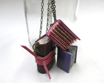 Mini Leather Books on a Chain - Tiny Journals - Diary - Book necklace - Leather Journals - three mini journals - paper-goods - jewelry