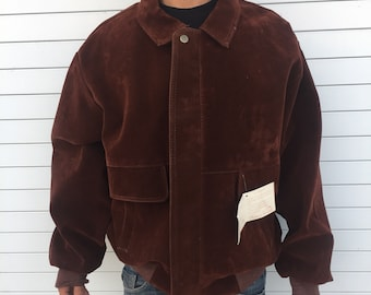 ab9cacfc55004 Suede jacket GV Italy Hot Stuff vintage with Tag brown size L large