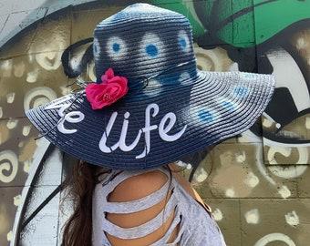 Love life hat summer hand painted art
